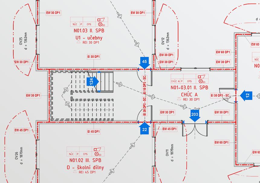 Požárně bezpečnostní řešení (PBŘ) v Revit informačním modelu buvody (BIM) - půdorys