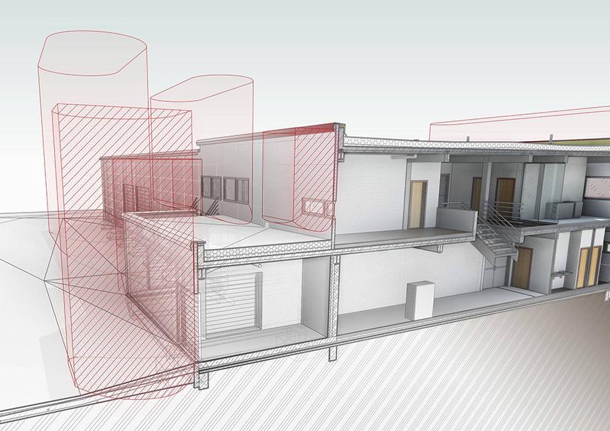 Požárně bezpečnostní řešení (PBŘ) v Revit informačním modelu buvody (BIM) - model stavby